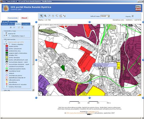 Geografický informačný systém bol postavený výlučne na open-source komponentách, na obrázku jedna zo starších verzií