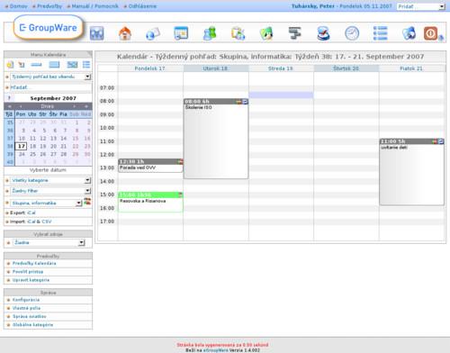Jednou z aplikácií eGroupware je aj kalendár
