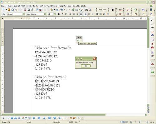Ukážka čísiel pred a po formátovaní (obrázok je montáž dvoch zosnímaných obrazoviek – čísiel pred a po formátovaní)