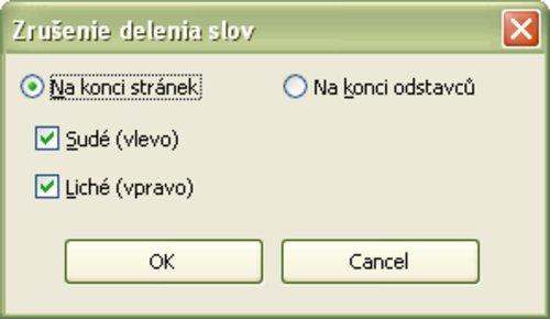 Možnosti výberu a nastavení, kde sa má zrušiť delenie slov