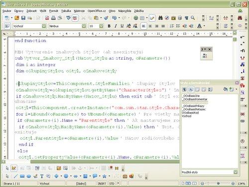 Ukážka farebného zvýraznenia syntaxe zdrojového textu programu