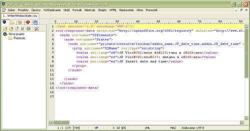 Ukážka spracovaného XML súboru, ktorý sa používa v rozšíreniach OpenOffice.org