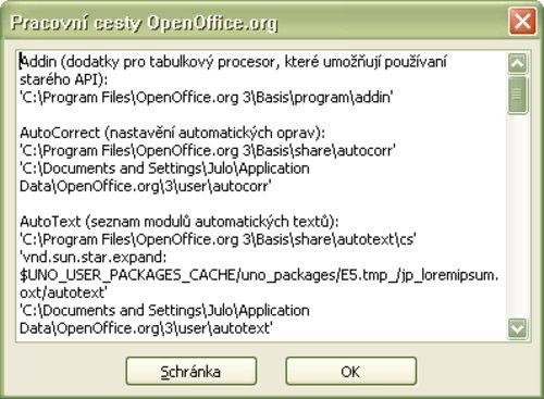Okno so zobrazenými pracovnými cestami OpenOffice.org
