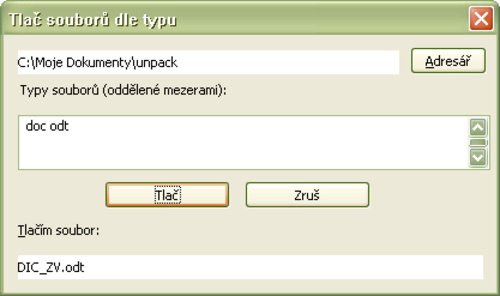 Výber adresára a zadanie prípon pre hromadnú tlač súborov