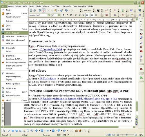 Paralelné uloženie textového súboru vo formátoch ODT, DOC a PDF