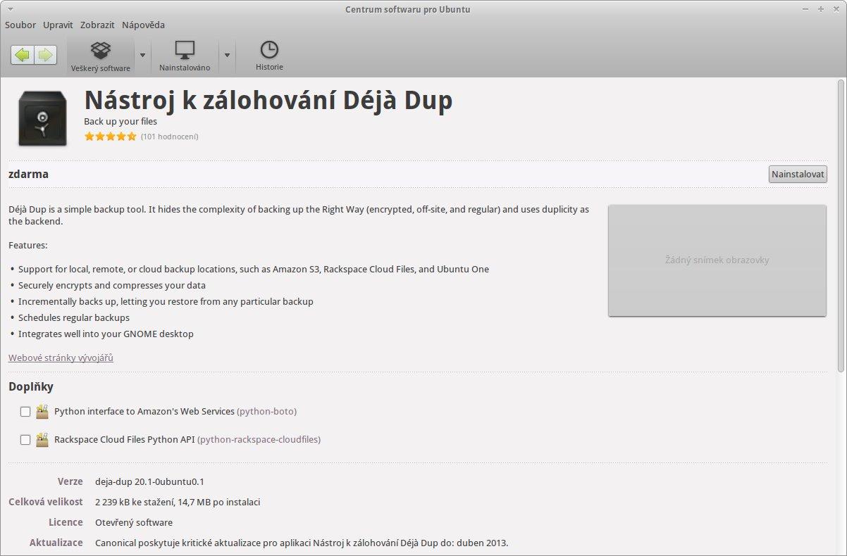 Aplikace Dejà Dup v Centru softwaru pro Ubuntu
