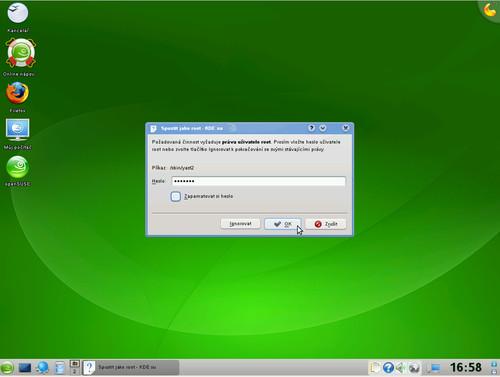 Požadavek systému na zadání hesla roota v OpenSuSE 11