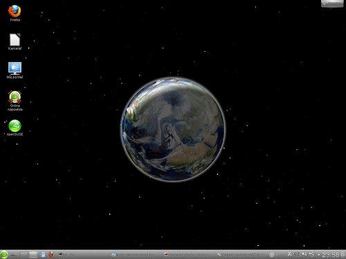 Prostředí KDE v openSUSE 12.1 – globus na ploše