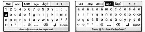 Možnosti softwarové klávesnice