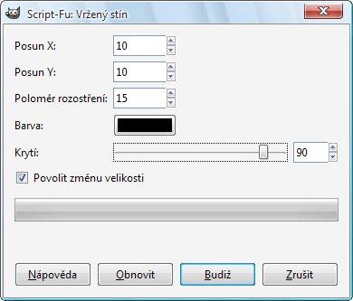Okno filtru Vržený stín s nastavenými parametry
