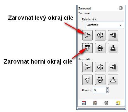Možnosti zarovnávání objektů v obrázku pomocí nastavení voleb nástroje Zarovnání