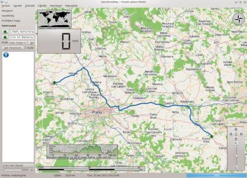 Marble – zobrazení trasy, výškového profilu a rychloměru