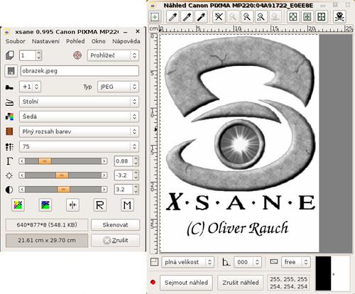 Aplikace XSane určená k obsluze skenerů - skenování