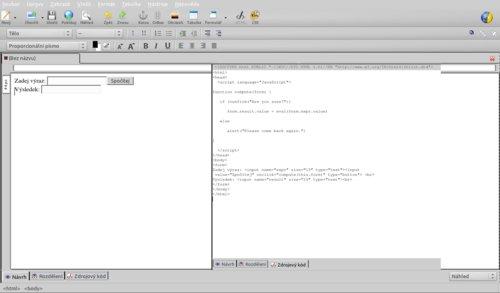 Kód musíte zapsat sami a výsledek zkontrolovat v náhledu nebo v konzoli