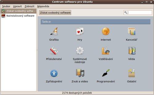 První verze Centra softwaru v Ubuntu 9.10 Karmic Koala