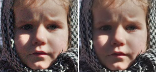 Účinek nastavení ekvalizéru na fotografii – vidíte, že vlásky dívenky nejsou rozmazané, ale zároveň zmizel šum