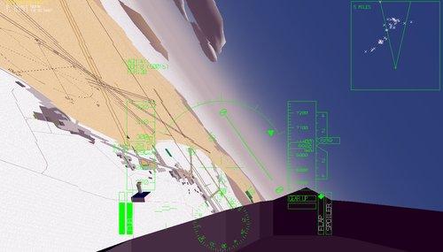 Pohled z pilotní kabiny B-2 Northrop Grumman