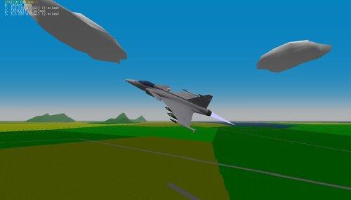 JAS-39 Gripen se zapnutým přídavným splaováním
