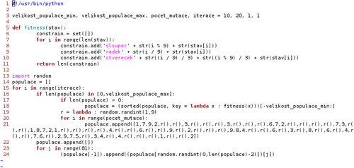 Zdrojový kód řešitele Sudoku
