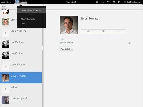 Nové rozhraní Kontaktů včetně super menu