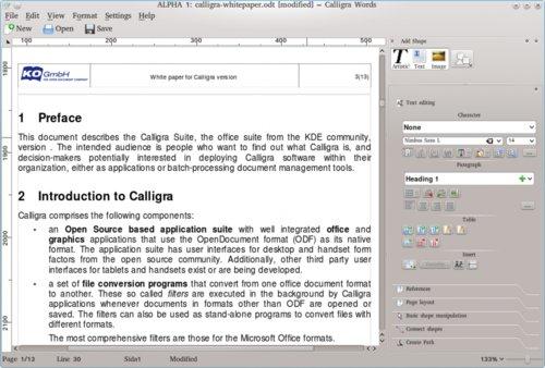 Textový procesor Calligra Words