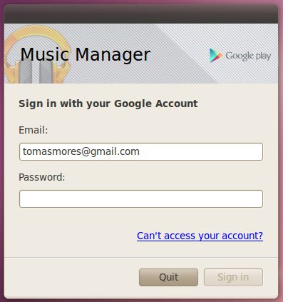 Při každém startu Music Manageru se musíte přihlásit ke svému účtu na Googlu