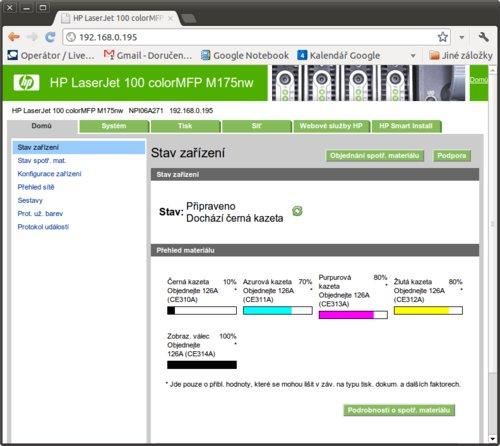 Webové rozhraní HP LaserJet Pro 100 M175nw