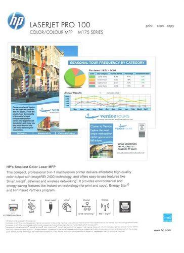 Z webového rozhraní lze vytisknout speciální zkušební strany, toto je jedna z nich, popisující možnosti tiskárny
