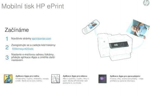 Stránka, kterou vytiskne tiskárna, poradí, jak zprovoznit HP ePrintCenter