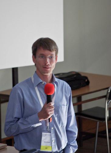 Markus Neteler v průběhu přednášky From Open Source to Open Science