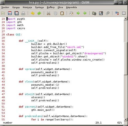 Komentovaný výsek zdrojového kódu