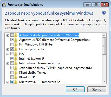 Okno ovládacího panelu Funkce systému Windows