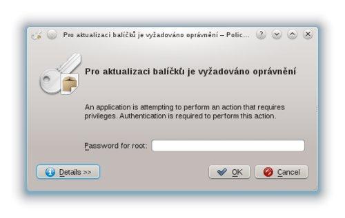 Zadání hesla k administrátorskému účtu root
