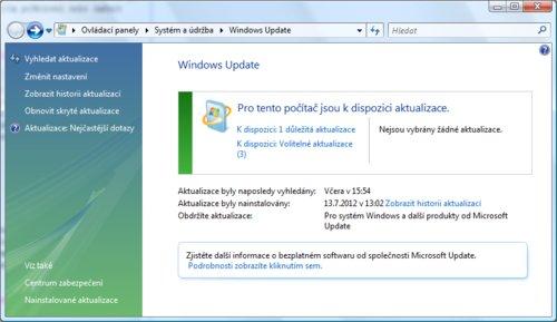 Okno nástroje Windows Update