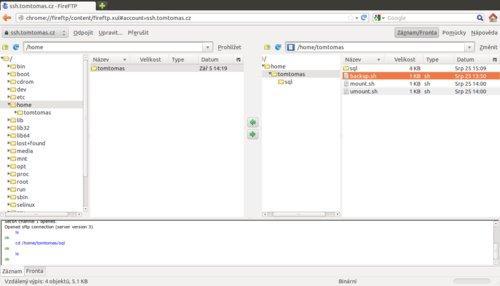 FireFTP běžící uvnitř prohlížeče Mozilla Firefox