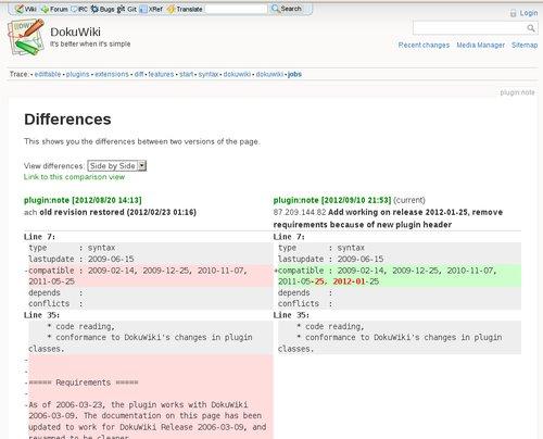 Porovnávání dvou verzí hesla v Dokuwiki