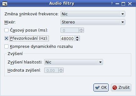 Nastavení filtrů zvuku
