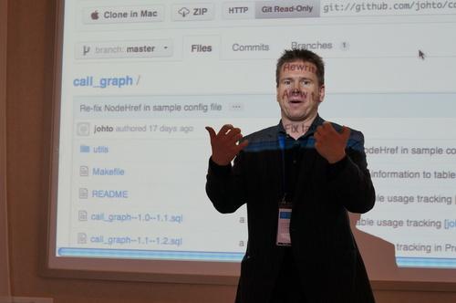 Moderující Harald Armin Massa a za ním nástroj call_graph