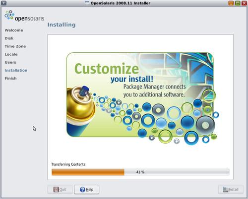 Instalací nás provází jednoduchá a elegantní slideshow s hlavními výhodami OpenSolarisu