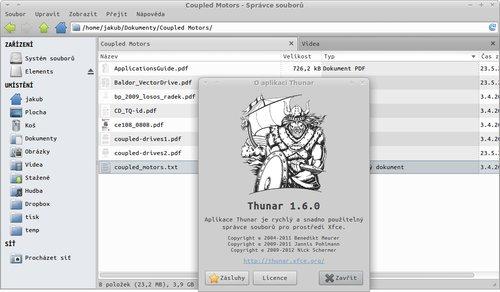 Thunar 1.6.0, screenshot vytvořil @Moriarty_cz
