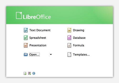 LibreOffice – uvítací obrazovka