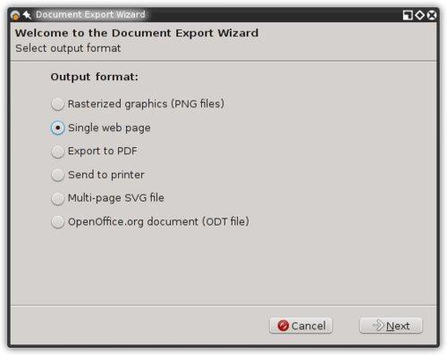 Dialogové okno exportu dokumentu