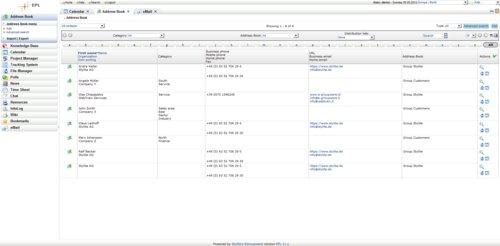 Vzhled webového rozhraní EGroupware (Enterprise)