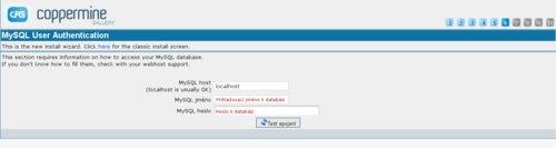 Nastavení přístupových údajů k databázi