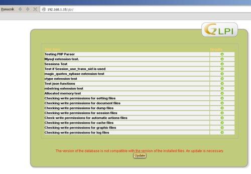Prvé spustenie po aktualizácii s výsledkom testu a upozornením na potrebu aktualizácie databázy