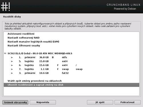 Při dělení disku prostřednictvím instalačního procesu Crunchbang je nutné dbát zvýšené opatrnosti