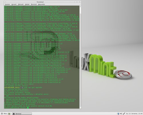 Další možností aktualizace je ruční spuštění apt-get v terminálu (Mint)