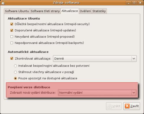 Nástroj distribuce Ubuntu 8.10 pro upgrade systému