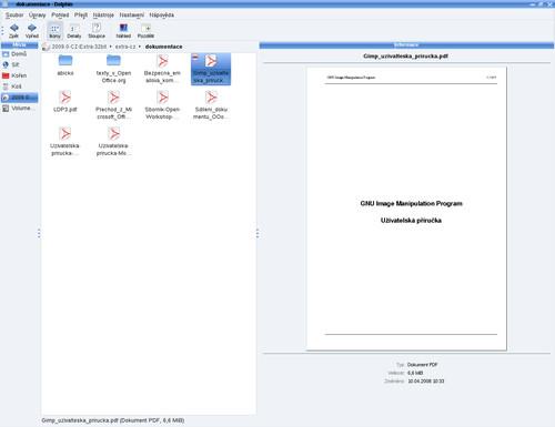 Náhľad na PDF súbor v správcovi súborov Dolphin