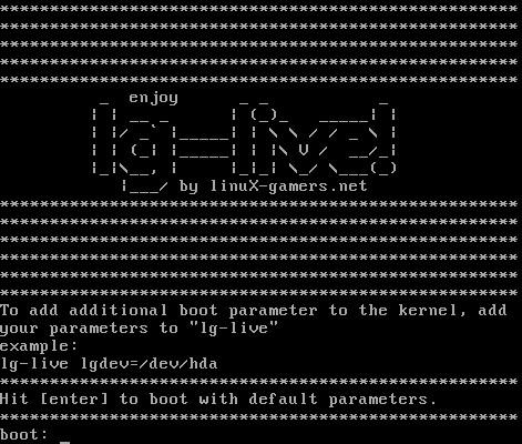 Úvodní obrazovka herního live DVD linuX-gamers.net